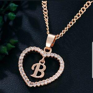 Fashion Gold Tone Alphabet Letters A-W Love Heart
